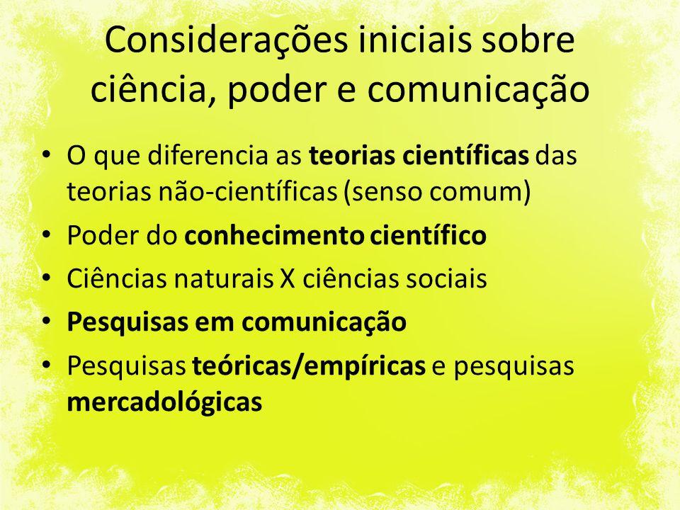 Pesquisa em Comunicação Estudo científico dos elementos que integram o processo comunicativo, a análise de todos os fenômenos relacionados ou gerados pela transmissão de informações, sejam dirigidos a uma única pessoa, a um grupo ou a um vasto público.