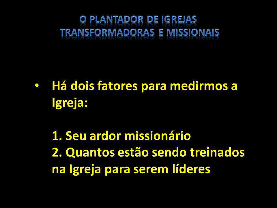 Há dois fatores para medirmos a Igreja: 1. Seu ardor missionário 2. Quantos estão sendo treinados na Igreja para serem líderes