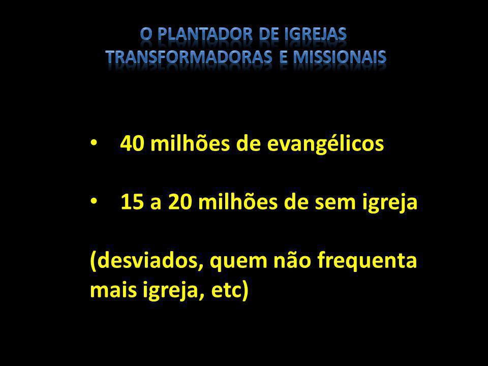 40 milhões de evangélicos 15 a 20 milhões de sem igreja (desviados, quem não frequenta mais igreja, etc)