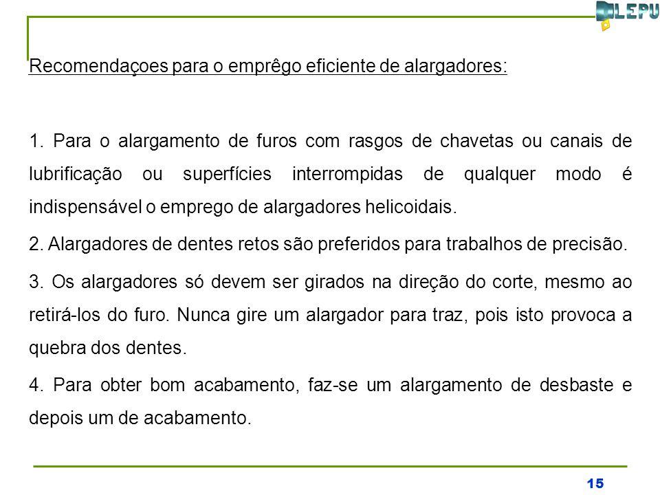 15 Recomendaçoes para o emprêgo eficiente de alargadores: 1.