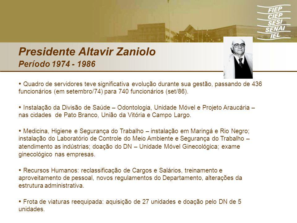 Presidente Altavir Zaniolo Período 1974 - 1986 Quadro de servidores teve significativa evolução durante sua gestão, passando de 436 funcionários (em s