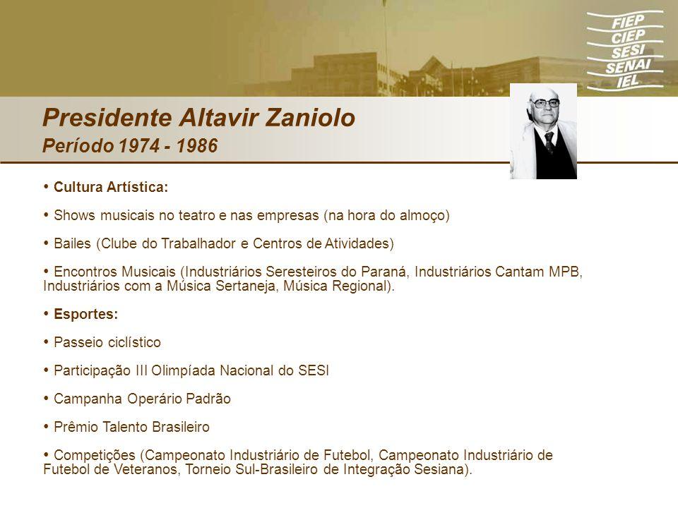 Presidente Altavir Zaniolo Período 1974 - 1986 Cultura Artística: Shows musicais no teatro e nas empresas (na hora do almoço) Bailes (Clube do Trabalh