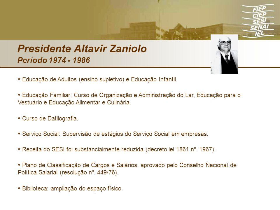 Presidente Altavir Zaniolo Período 1974 - 1986 Educação de Adultos (ensino supletivo) e Educação Infantil. Educação Familiar: Curso de Organização e A