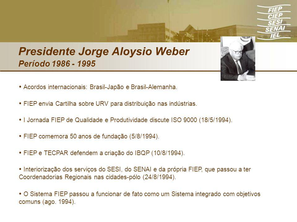 Presidente Jorge Aloysio Weber Período 1986 - 1995 Acordos internacionais: Brasil-Japão e Brasil-Alemanha. FIEP envia Cartilha sobre URV para distribu