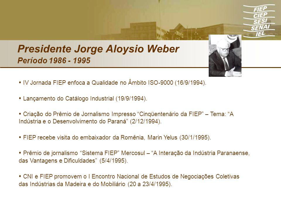 Presidente Jorge Aloysio Weber Período 1986 - 1995 IV Jornada FIEP enfoca a Qualidade no Âmbito ISO-9000 (16/9/1994). Lançamento do Catálogo Industria