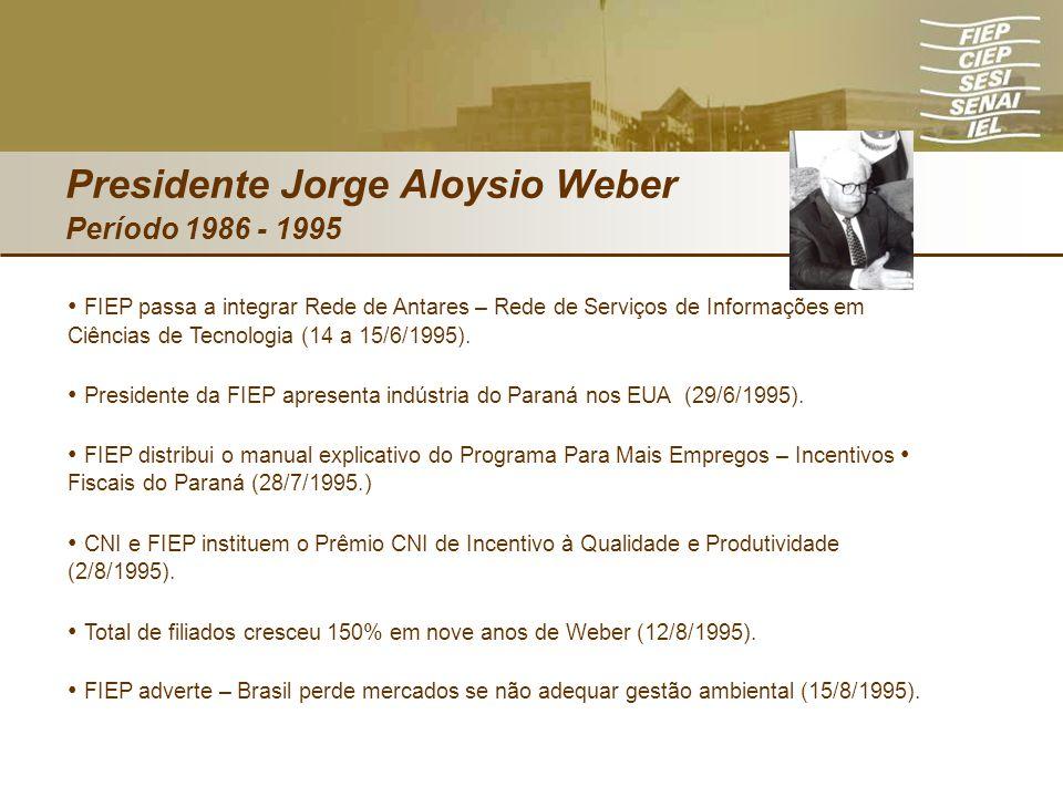 Presidente Jorge Aloysio Weber Período 1986 - 1995 FIEP passa a integrar Rede de Antares – Rede de Serviços de Informações em Ciências de Tecnologia (