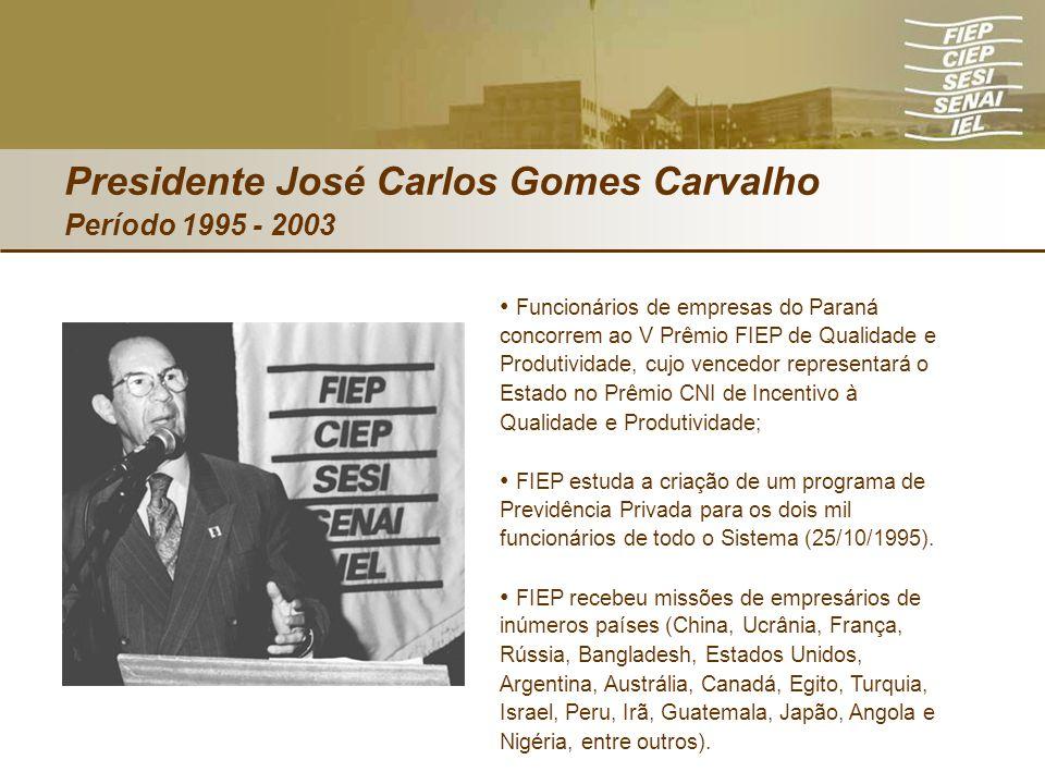 Presidente José Carlos Gomes Carvalho Período 1995 - 2003 Funcionários de empresas do Paraná concorrem ao V Prêmio FIEP de Qualidade e Produtividade,