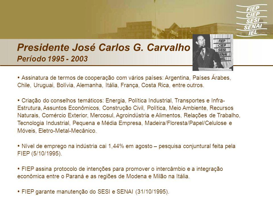 Presidente José Carlos G. Carvalho Período 1995 - 2003 Assinatura de termos de cooperação com vários países: Argentina, Países Árabes, Chile, Uruguai,