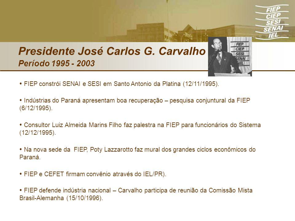 Presidente José Carlos G. Carvalho Período 1995 - 2003 FIEP constrói SENAI e SESI em Santo Antonio da Platina (12/11/1995). Indústrias do Paraná apres