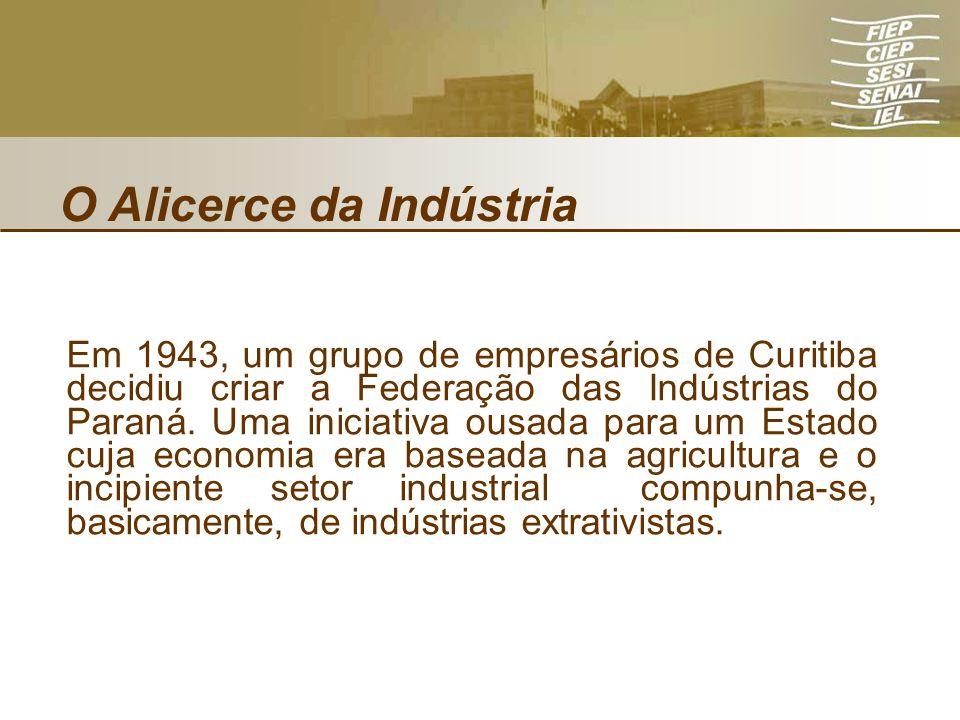 O Alicerce da Indústria Em 1943, um grupo de empresários de Curitiba decidiu criar a Federação das Indústrias do Paraná. Uma iniciativa ousada para um