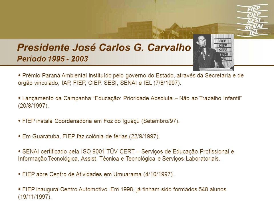 Presidente José Carlos G. Carvalho Período 1995 - 2003 Prêmio Paraná Ambiental instituído pelo governo do Estado, através da Secretaria e de órgão vin
