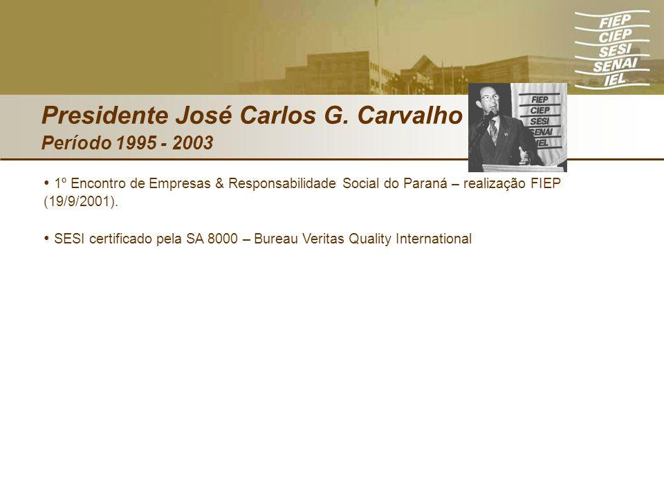 Presidente José Carlos G. Carvalho Período 1995 - 2003 1º Encontro de Empresas & Responsabilidade Social do Paraná – realização FIEP (19/9/2001). SESI