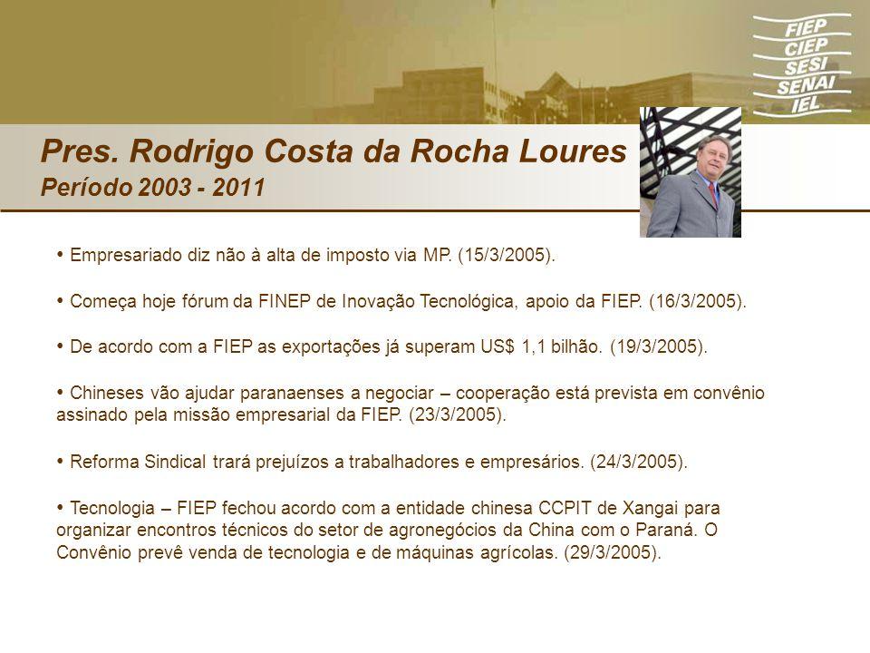 Empresariado diz não à alta de imposto via MP. (15/3/2005). Começa hoje fórum da FINEP de Inovação Tecnológica, apoio da FIEP. (16/3/2005). De acordo