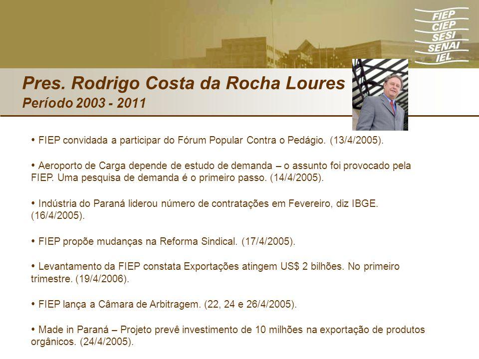 FIEP convidada a participar do Fórum Popular Contra o Pedágio. (13/4/2005). Aeroporto de Carga depende de estudo de demanda – o assunto foi provocado