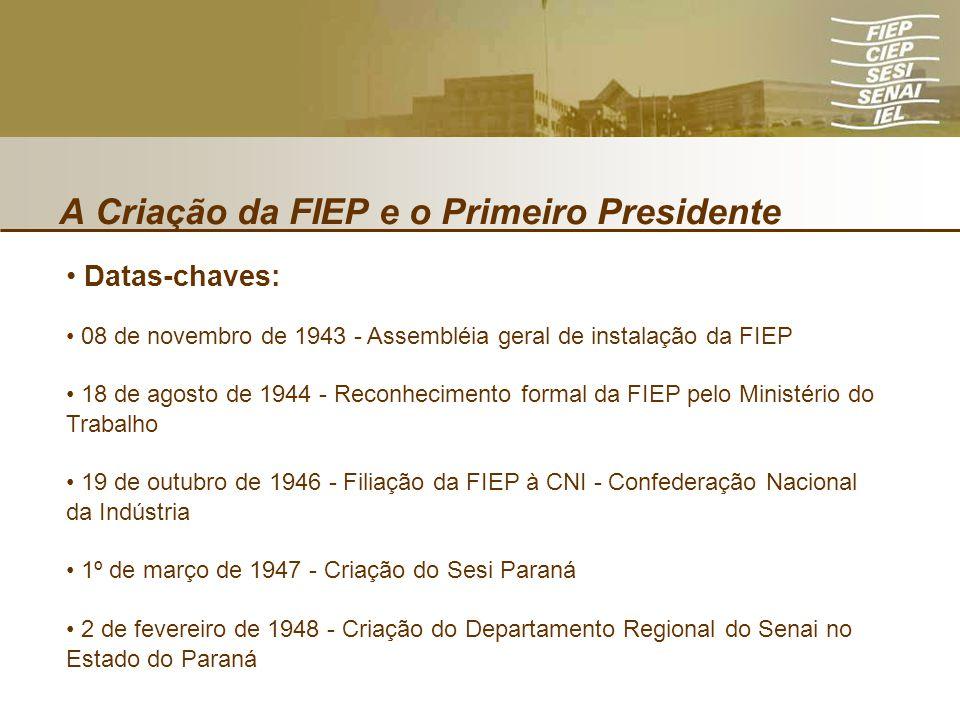 A Criação da FIEP e o Primeiro Presidente Datas-chaves: 08 de novembro de 1943 - Assembléia geral de instalação da FIEP 18 de agosto de 1944 - Reconhe