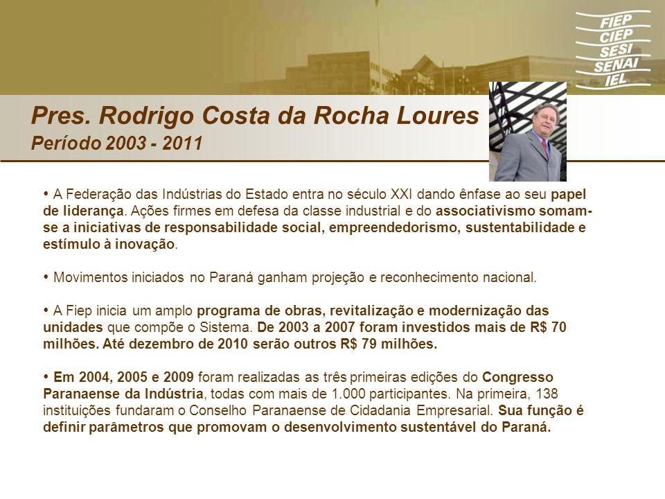 Pres. Rodrigo Costa da Rocha Loures Período 2003 - 2011 A Federação das Indústrias do Estado entra no século XXI dando ênfase ao seu papel de lideranç