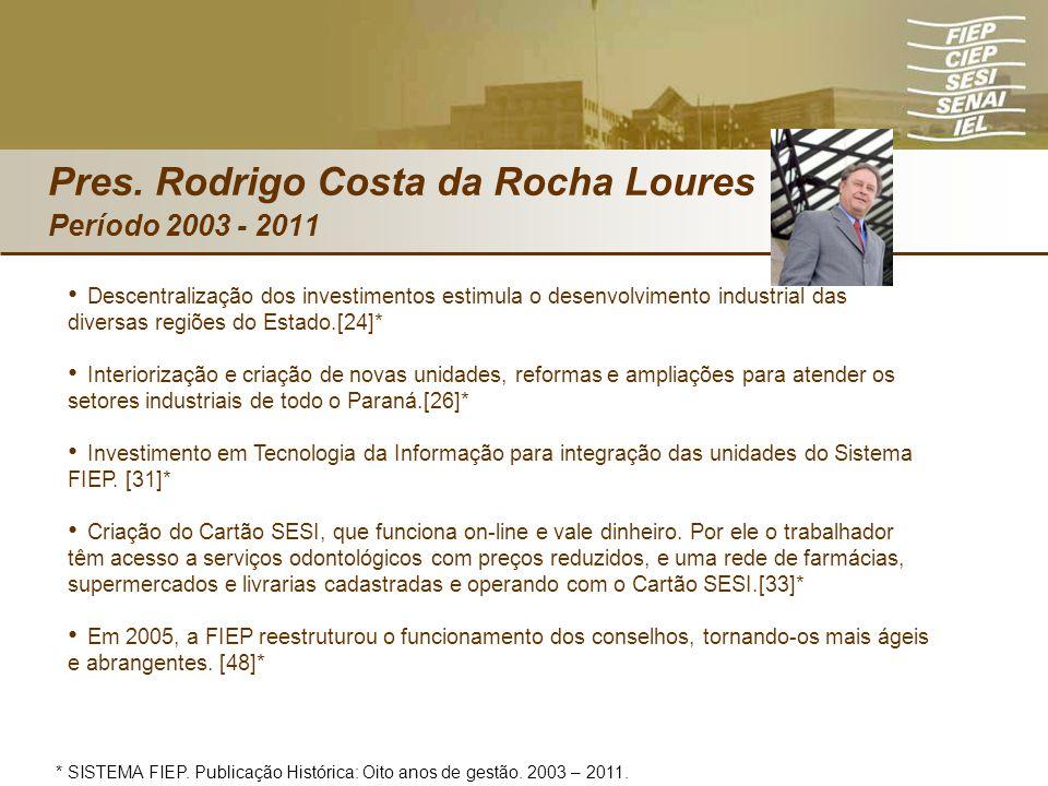 Pres. Rodrigo Costa da Rocha Loures Período 2003 - 2011 Descentralização dos investimentos estimula o desenvolvimento industrial das diversas regiões