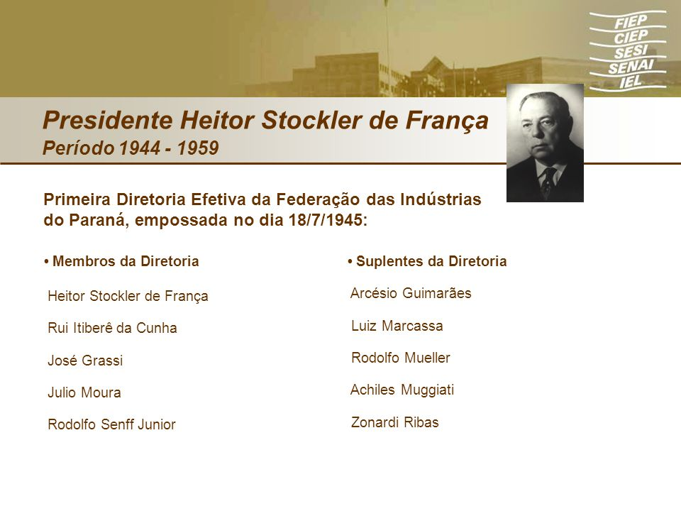 Presidente Heitor Stockler de França Período 1944 - 1959 Membros da Diretoria Heitor Stockler de França Rui Itiberê da Cunha José Grassi Julio Moura R