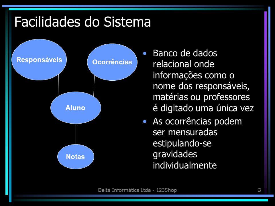 Delta Informática Ltda - 123Shop3 Facilidades do Sistema Banco de dados relacional onde informações como o nome dos responsáveis, matérias ou professo