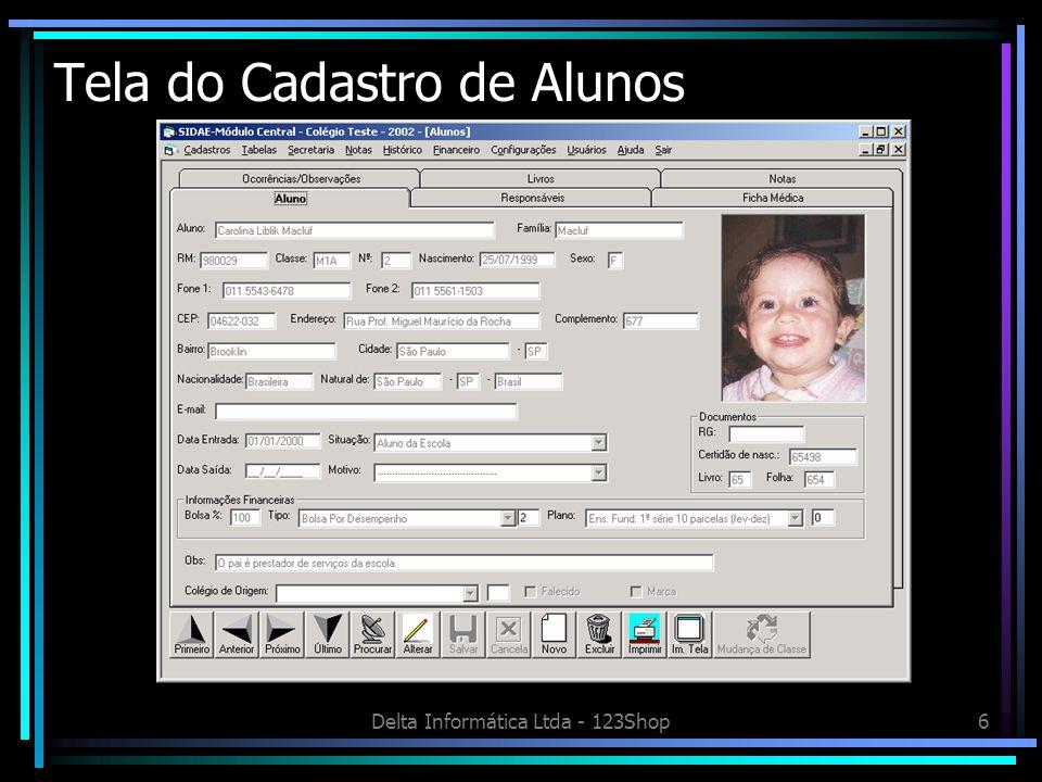 Delta Informática Ltda - 123Shop6 Tela do Cadastro de Alunos