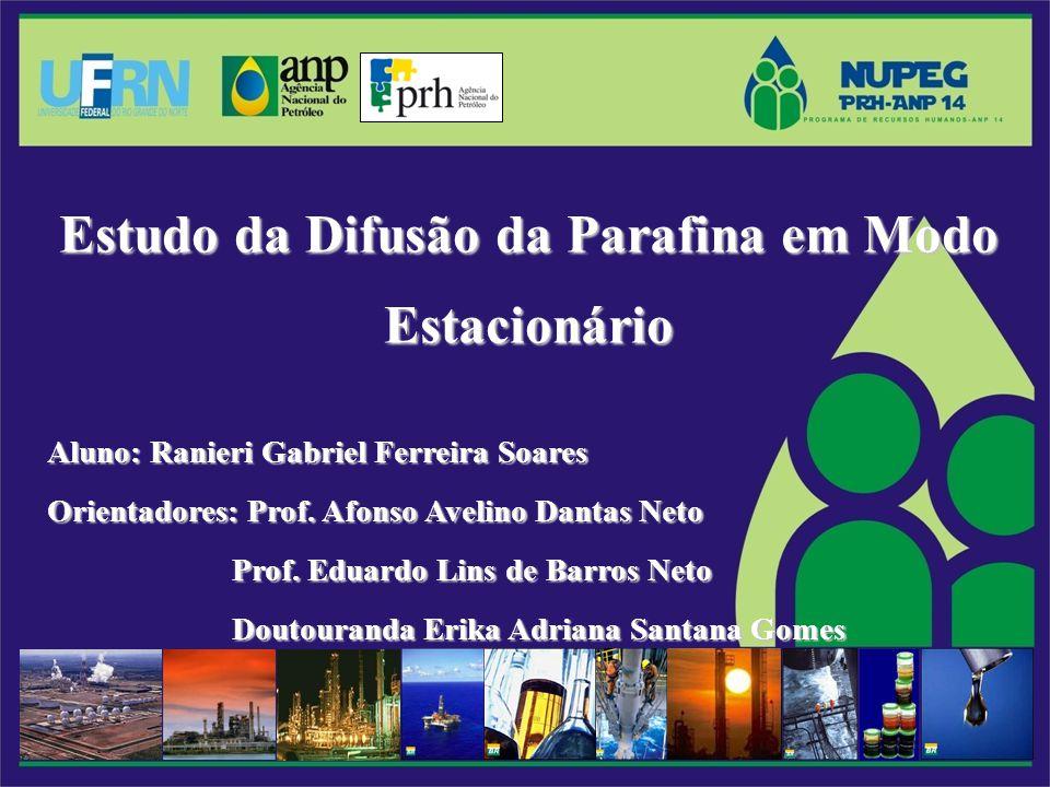 Estudo da Difusão da Parafina em Modo Estacionário Aluno: Ranieri Gabriel Ferreira Soares Orientadores: Prof.