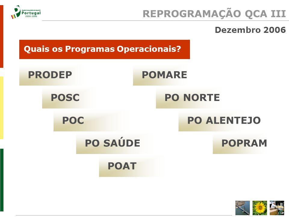 REPROGRAMAÇÃO QCA III Dezembro 2006 PRODEP Quais os Programas Operacionais.