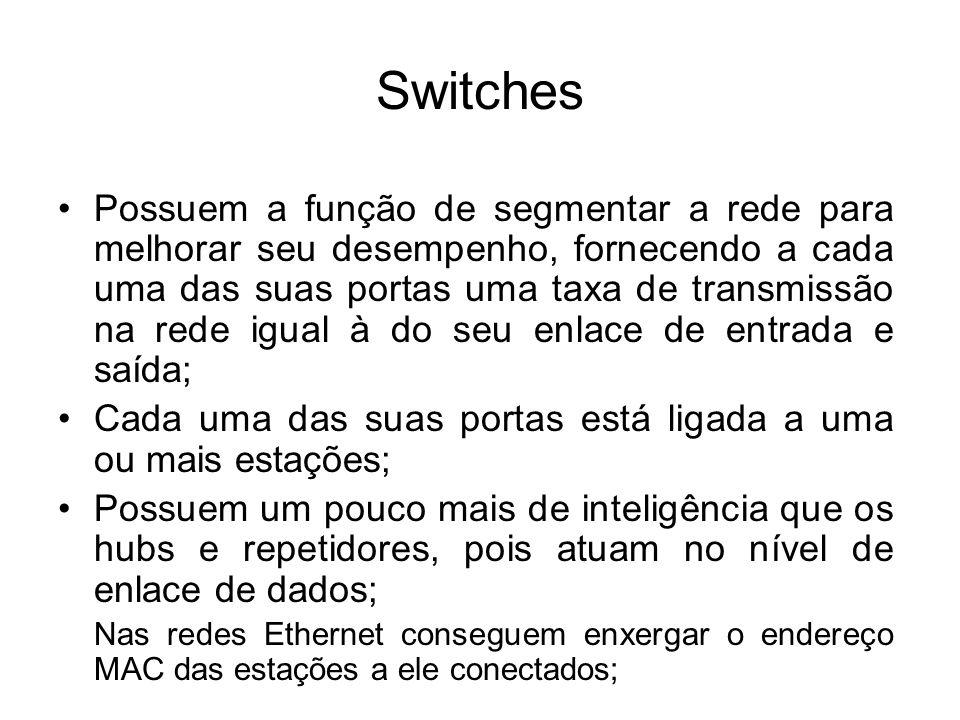 Switches Possuem a função de segmentar a rede para melhorar seu desempenho, fornecendo a cada uma das suas portas uma taxa de transmissão na rede igua