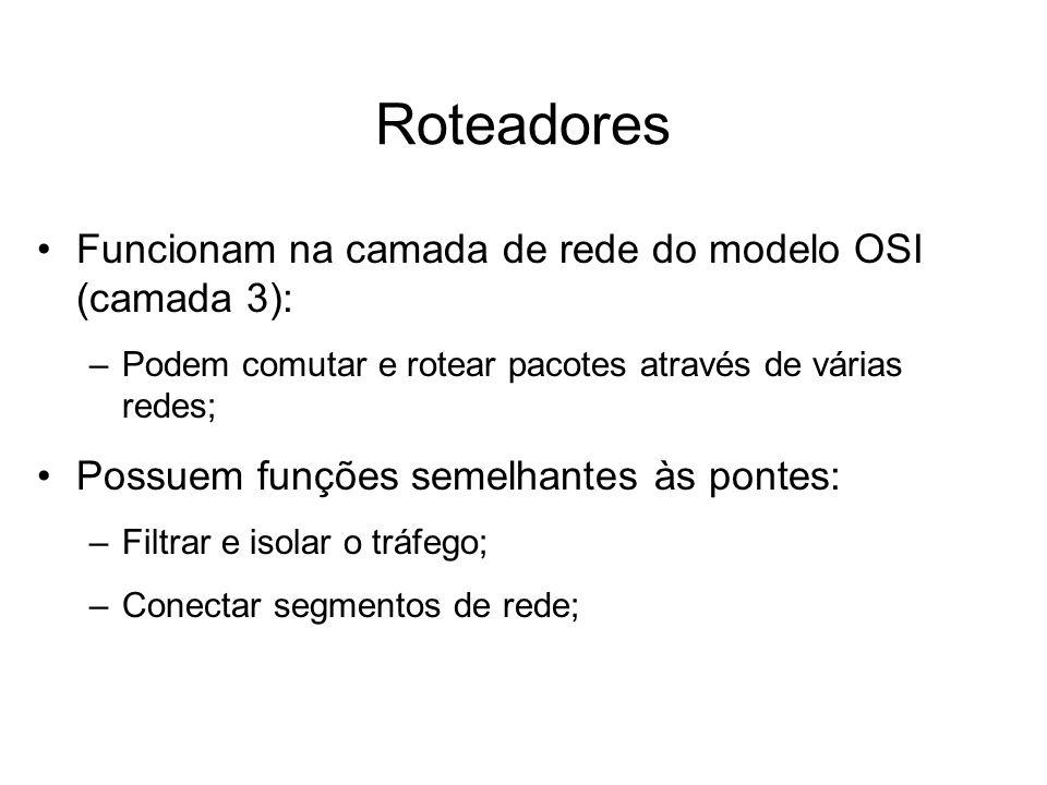Roteadores Funcionam na camada de rede do modelo OSI (camada 3): –Podem comutar e rotear pacotes através de várias redes; Possuem funções semelhantes