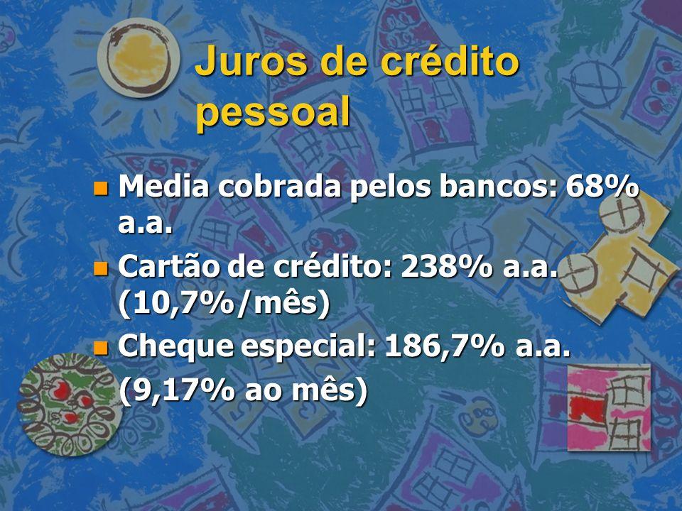 Juros de crédito pessoal n Media cobrada pelos bancos: 68% a.a. n Cartão de crédito: 238% a.a. (10,7%/mês) n Cheque especial: 186,7% a.a. (9,17% ao mê