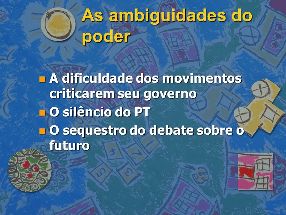 As ambiguidades do poder n A dificuldade dos movimentos criticarem seu governo n O silêncio do PT n O sequestro do debate sobre o futuro