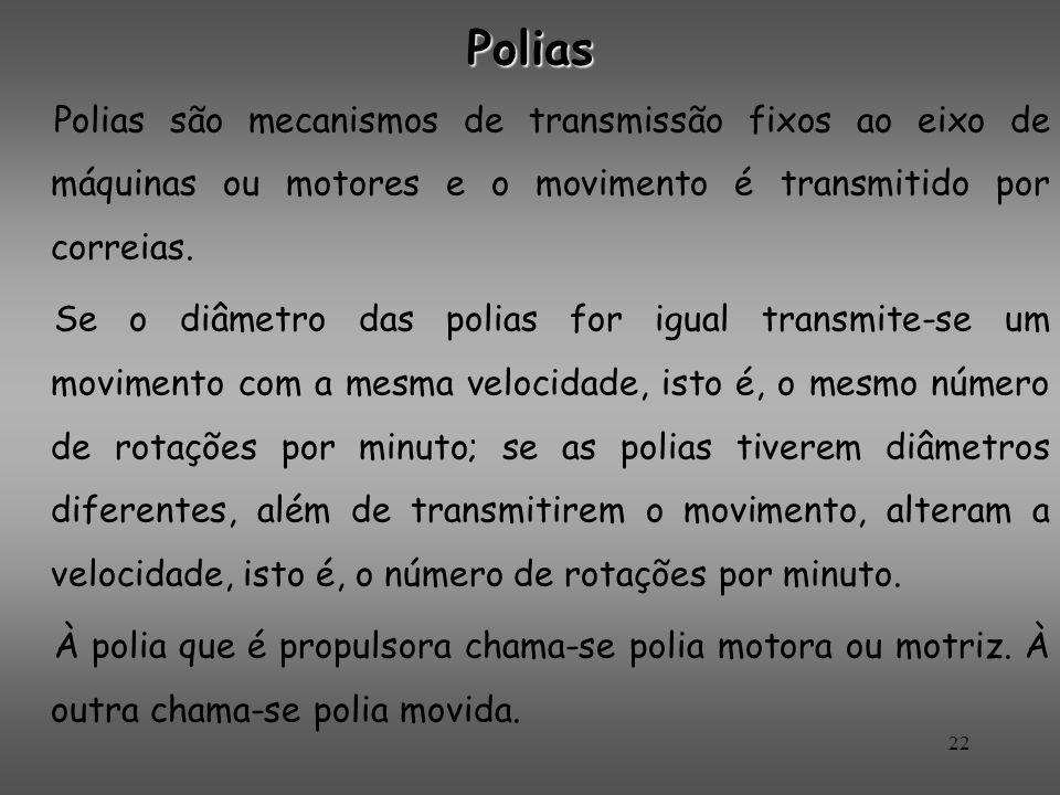 Polias Polias são mecanismos de transmissão fixos ao eixo de máquinas ou motores e o movimento é transmitido por correias. Se o diâmetro das polias fo