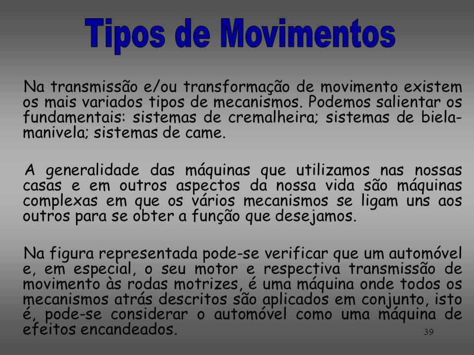 Na transmissão e/ou transformação de movimento existem os mais variados tipos de mecanismos. Podemos salientar os fundamentais: sistemas de cremalheir