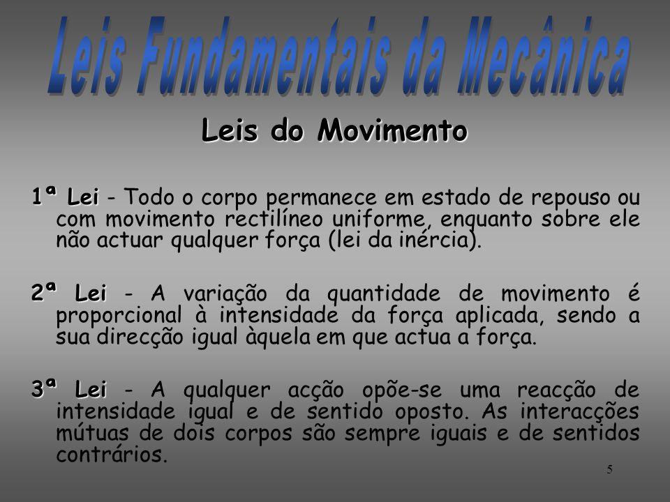 Leis do Movimento 1ª Lei 1ª Lei - Todo o corpo permanece em estado de repouso ou com movimento rectilíneo uniforme, enquanto sobre ele não actuar qual