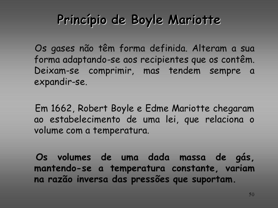 Princípio de Boyle Mariotte Os gases não têm forma definida. Alteram a sua forma adaptando-se aos recipientes que os contêm. Deixam-se comprimir, mas
