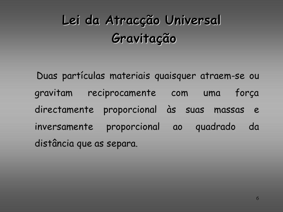 Lei da Atracção Universal Gravitação Gravitação Duas partículas materiais quaisquer atraem-se ou gravitam reciprocamente com uma força directamente pr
