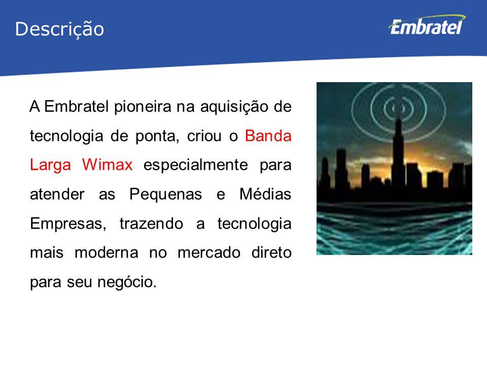 Gestão de Mercado A Embratel pioneira na aquisição de tecnologia de ponta, criou o Banda Larga Wimax especialmente para atender as Pequenas e Médias E