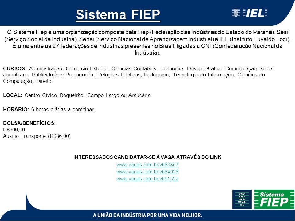 Sistema FIEP O Sistema Fiep é uma organização composta pela Fiep (Federação das Indústrias do Estado do Paraná), Sesi (Serviço Social da Indústria), S