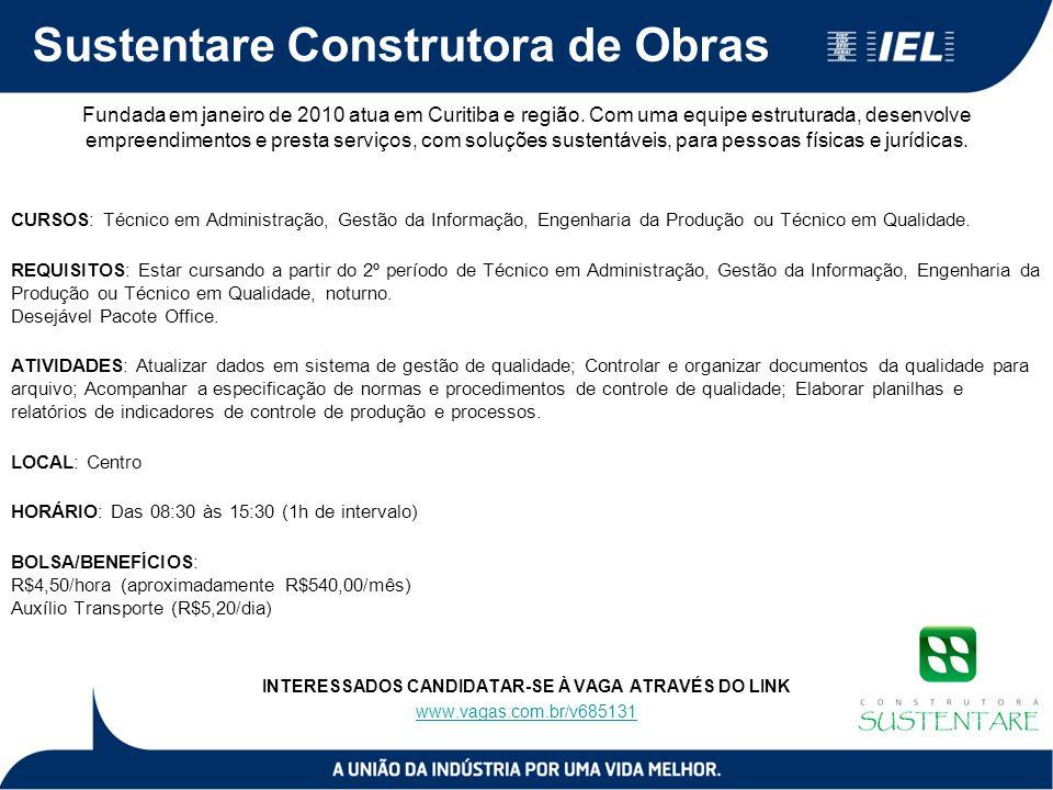 Sustentare Construtora de Obras Fundada em janeiro de 2010 atua em Curitiba e região. Com uma equipe estruturada, desenvolve empreendimentos e presta