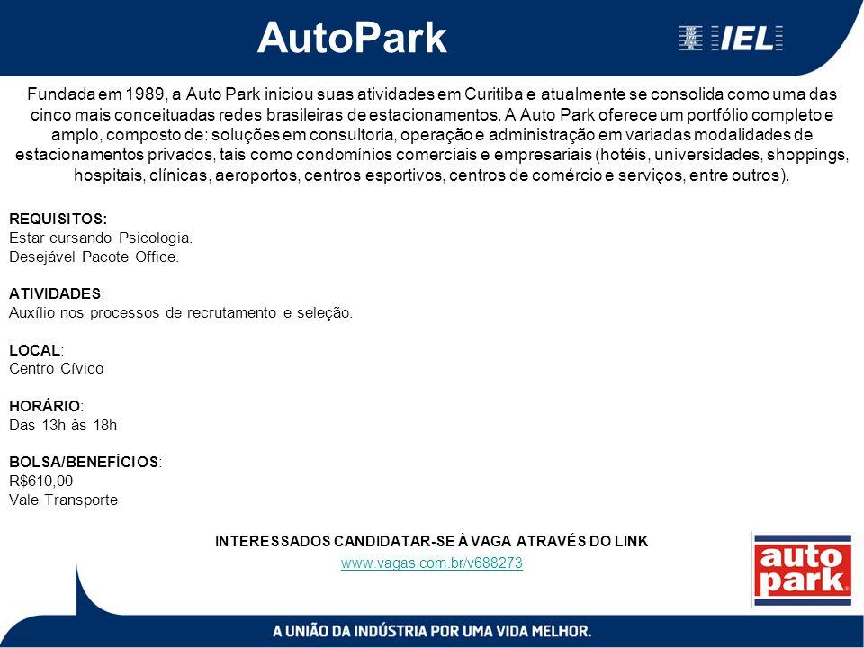 AutoPark Fundada em 1989, a Auto Park iniciou suas atividades em Curitiba e atualmente se consolida como uma das cinco mais conceituadas redes brasile