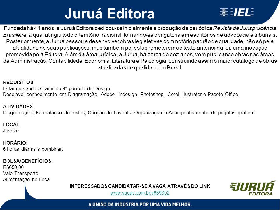 Juruá Editora Fundada há 44 anos, a Juruá Editora dedicou-se inicialmente à produção da periódica Revista de Jurisprudência Brasileira, a qual atingiu