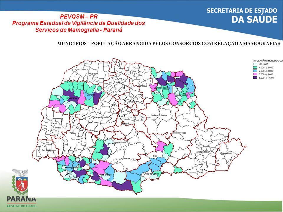 MUNICÍPIOS – POPULAÇÃO ABRANGIDA PELOS CONSÓRCIOS COM RELAÇÃO A MAMOGRAFIAS PEVQSM – PR Programa Estadual de Vigilância da Qualidade dos Serviços de Mamografia - Paraná