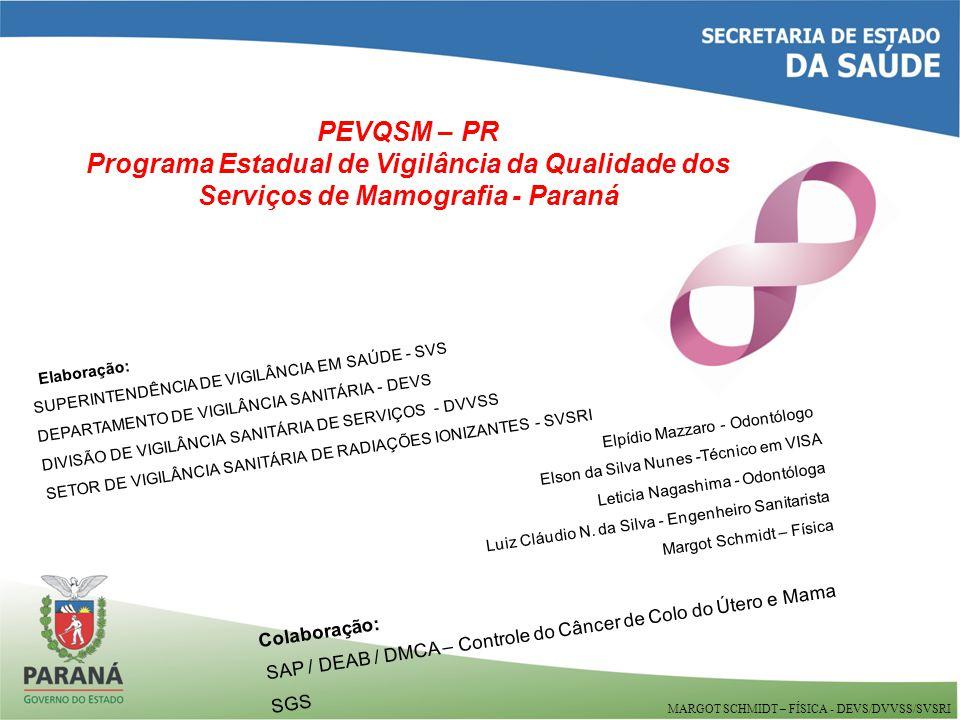 Elaboração: SUPERINTENDÊNCIA DE VIGILÂNCIA EM SAÚDE - SVS DEPARTAMENTO DE VIGILÂNCIA SANITÁRIA - DEVS DIVISÃO DE VIGILÂNCIA SANITÁRIA DE SERVIÇOS - DVVSS SETOR DE VIGILÂNCIA SANITÁRIA DE RADIAÇÕES IONIZANTES - SVSRI Elpídio Mazzaro - Odontólogo Elson da Silva Nunes -Técnico em VISA Leticia Nagashima - Odontóloga Luiz Cláudio N.