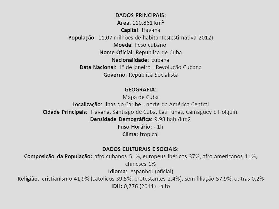 DADOS CULTURAIS E SOCIAIS: Composição da População: afro-cubanos 51%, europeus ibéricos 37%, afro- americanos 11%, chineses 1% Idioma: espanhol (oficial) Religião: cristianismo 41,9% (católicos 39,5%, protestantes 2,4%), sem filiação 57,9%, outras 0,2% IDH: 0,776 (2011) – alto ECONOMIA: Produtos Agrícolas: cana-de-açúcar (principal), tabaco, arroz e frutas tropicais (banana, laranja, abacaxi).