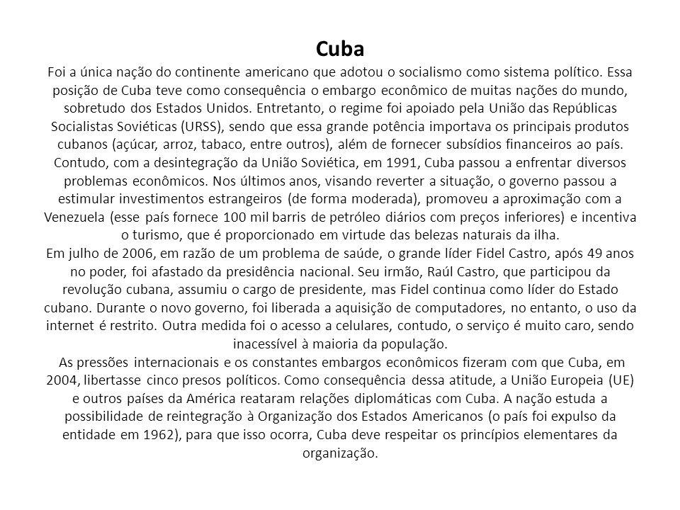Cuba Foi a única nação do continente americano que adotou o socialismo como sistema político. Essa posição de Cuba teve como consequência o embargo ec