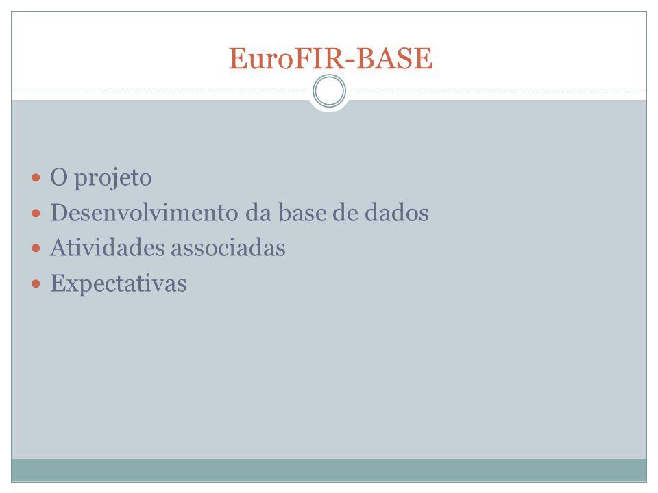 EuroFIR-BASE O projeto Desenvolvimento da base de dados Atividades associadas Expectativas