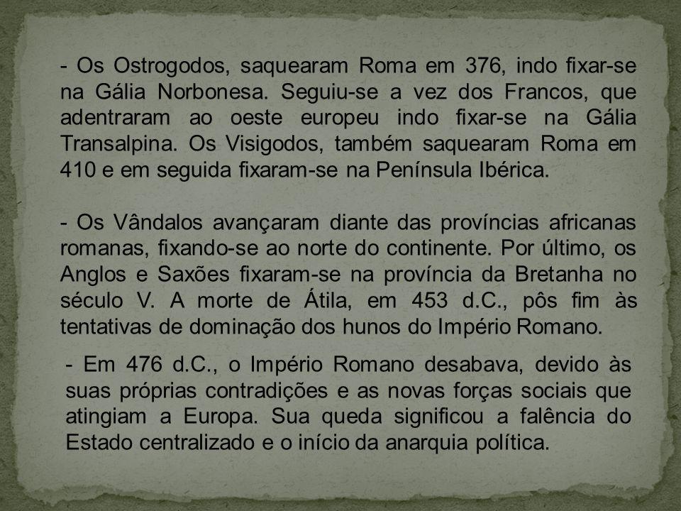 - Os Ostrogodos, saquearam Roma em 376, indo fixar-se na Gália Norbonesa.