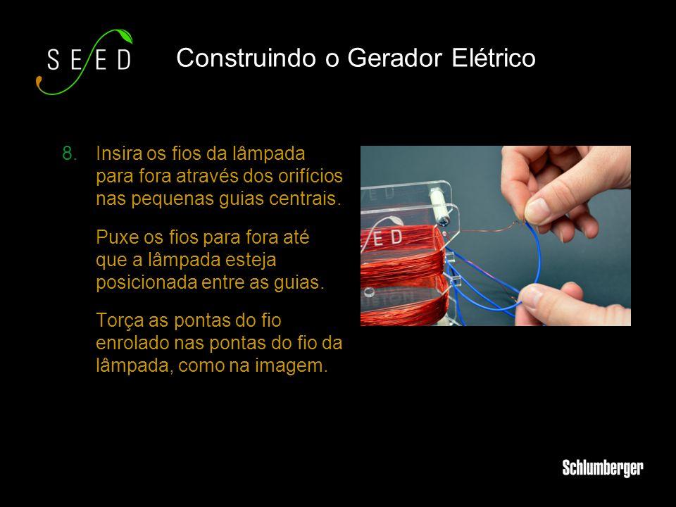 8.Insira os fios da lâmpada para fora através dos orifícios nas pequenas guias centrais. Puxe os fios para fora até que a lâmpada esteja posicionada e