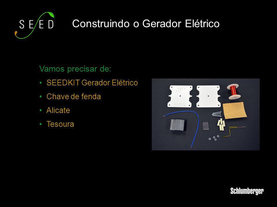 Vamos precisar de: SEEDKIT Gerador Elétrico Chave de fenda Alicate Tesoura Construindo o Gerador Elétrico