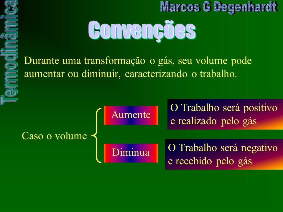 ConvençõesConvenções Durante uma transformação o gás, seu volume pode aumentar ou diminuir, caracterizando o trabalho. Caso o volume Aumente O Trabalh