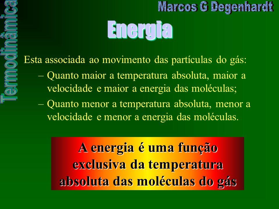 EnergiaEnergia Esta associada ao movimento das partículas do gás: –Quanto maior a temperatura absoluta, maior a velocidade e maior a energia das moléc